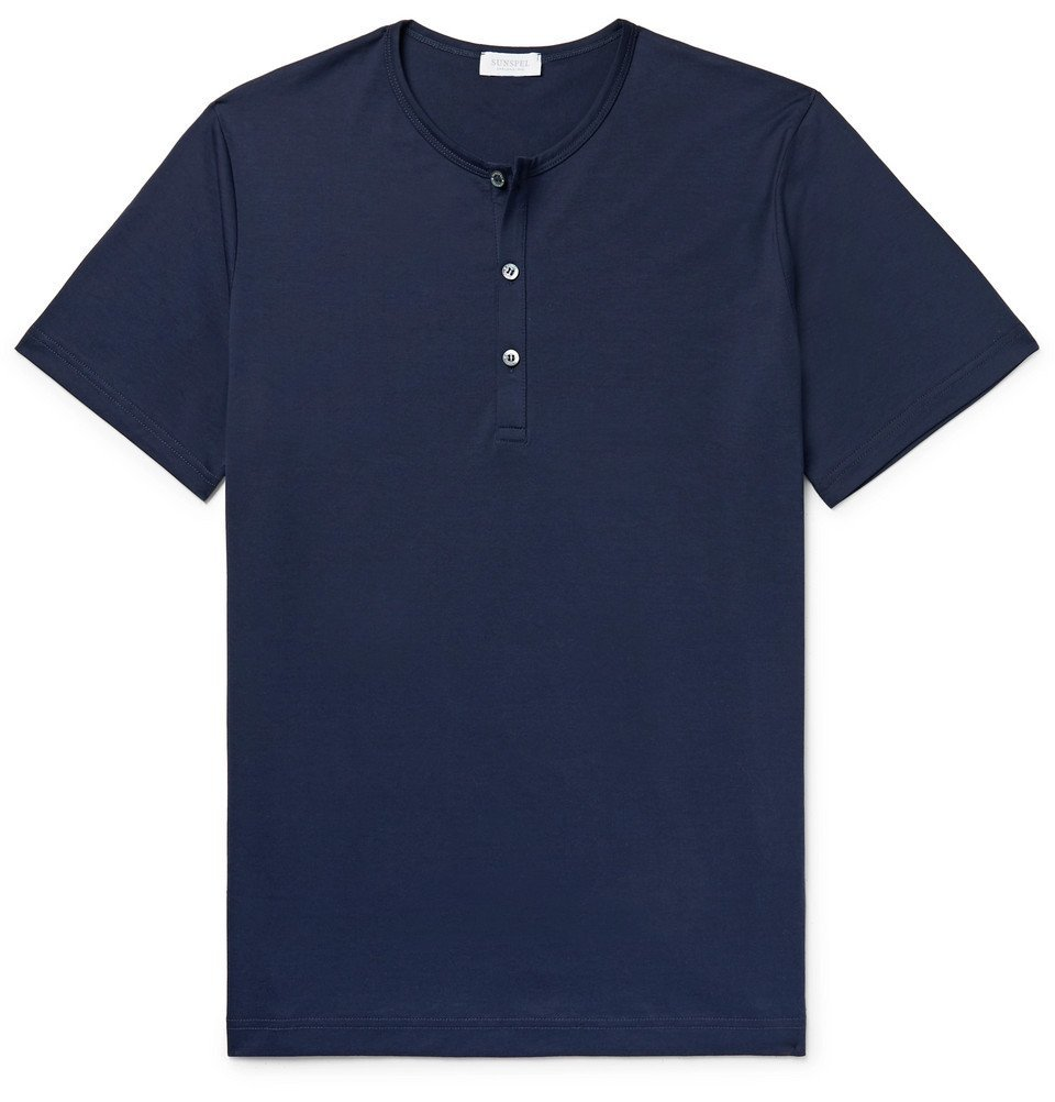 Sunspel - Superfine Cotton-Jersey Henley T-Shirt - Men - Navy