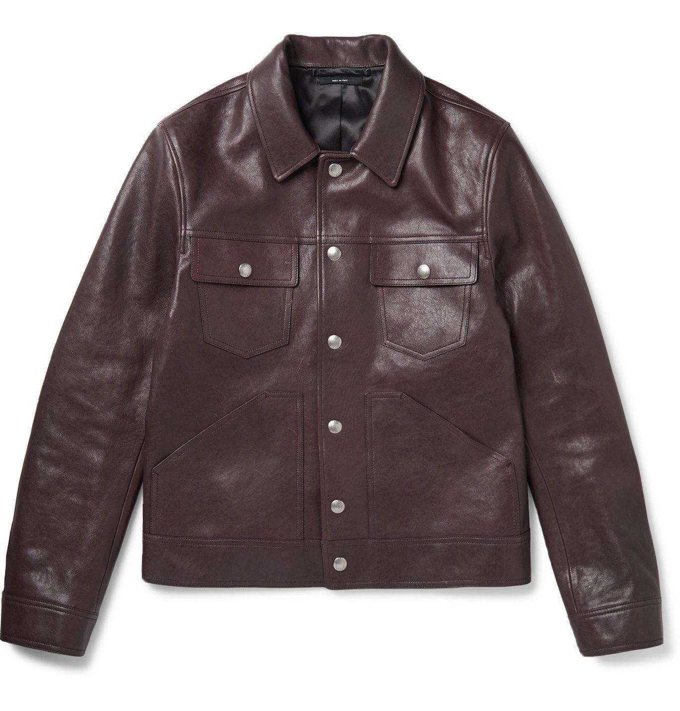 Photo: TOM FORD - Slim-Fit Leather Trucker Jacket - Burgundy