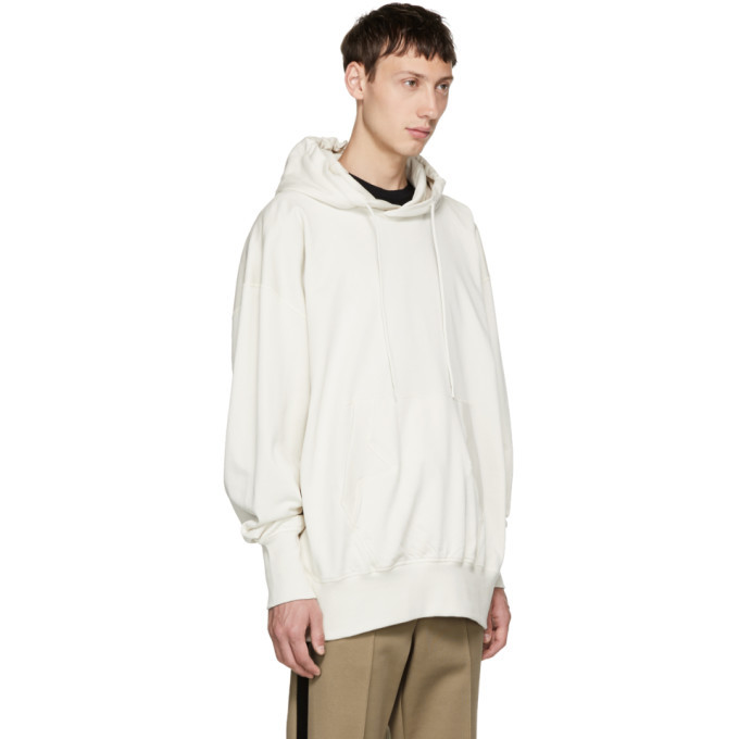 Y-3 White Stacked Logo Hoodie