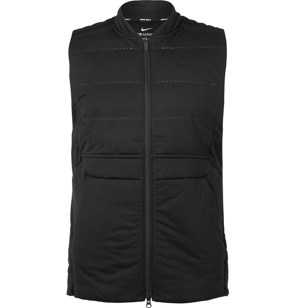Photo: Nike Golf - AeroLoft Slim-Fit Perforated Quilted Shell Golf Gilet - Black