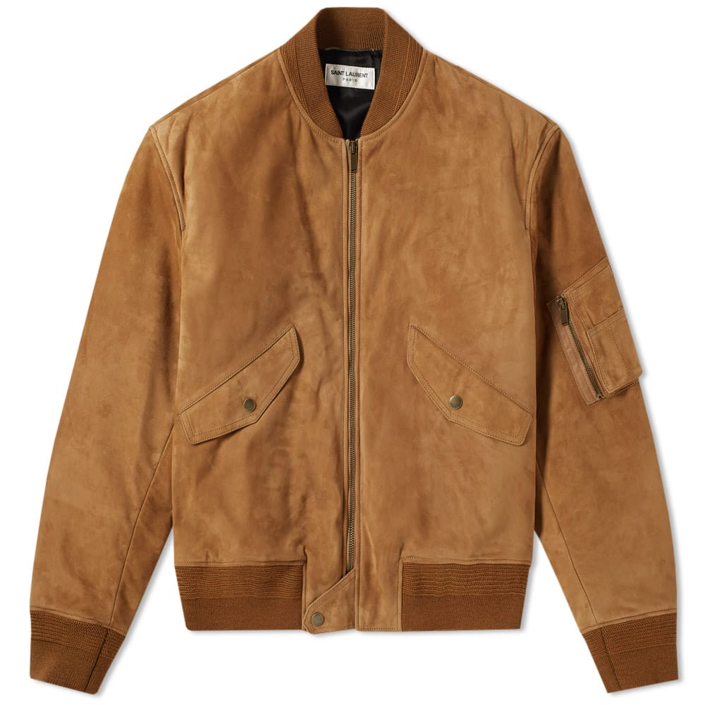 Photo: Saint Laurent Suede MA-1 Bomber Jacket Brown