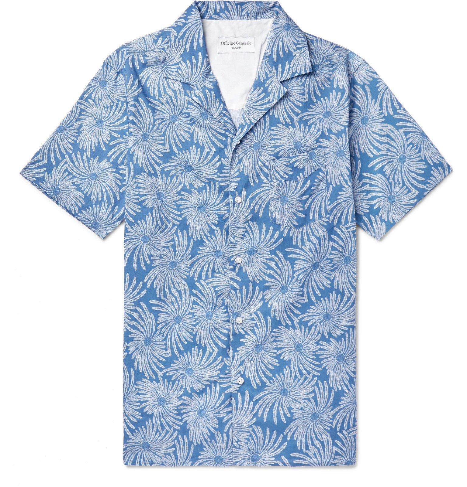 Photo: Officine Generale - Dario Camp-Collar Printed Cotton Shirt - Blue