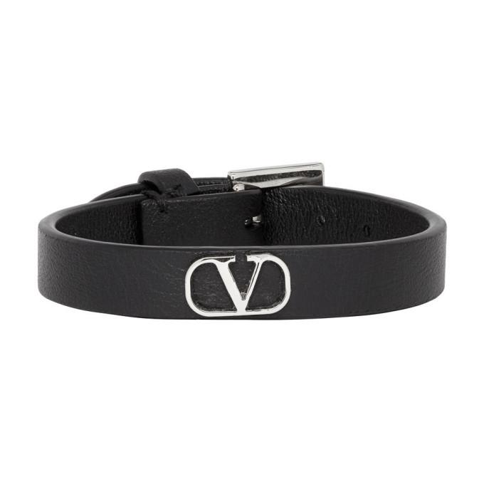 Photo: Valentino Black and Silver Valentino Garavani Go Logo Strap Bracelet