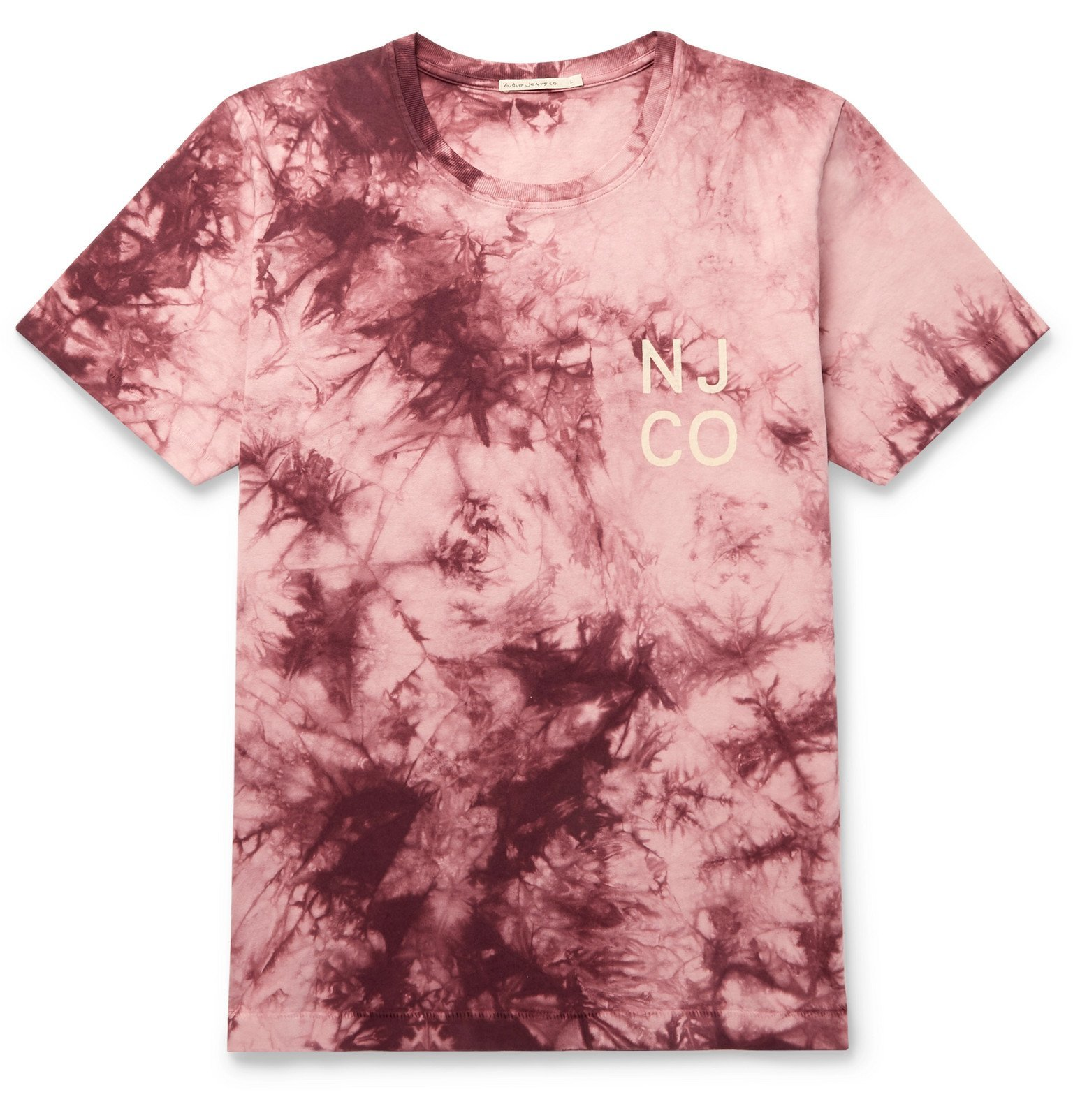 Photo: Nudie Jeans - Roy Logo-Print Tie-Dyed Cotton-Jersey - Pink