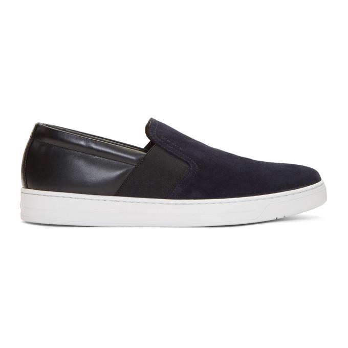 Photo: Prada Navy and Black Suede Slip-On Sneakers