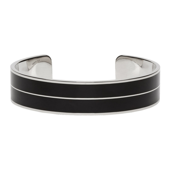 Photo: Givenchy Silver and Black Signature Bangle Bracelet