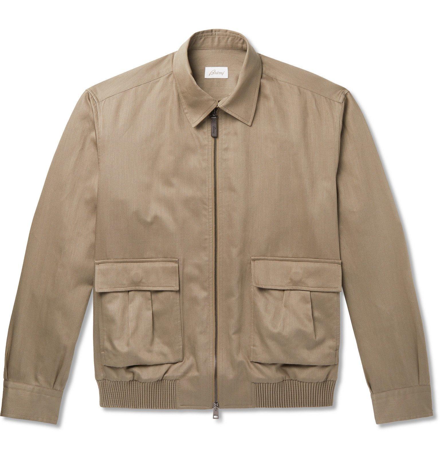 Photo: Brioni - Cotton and Linen-Blend Blouson Jacket - Gray