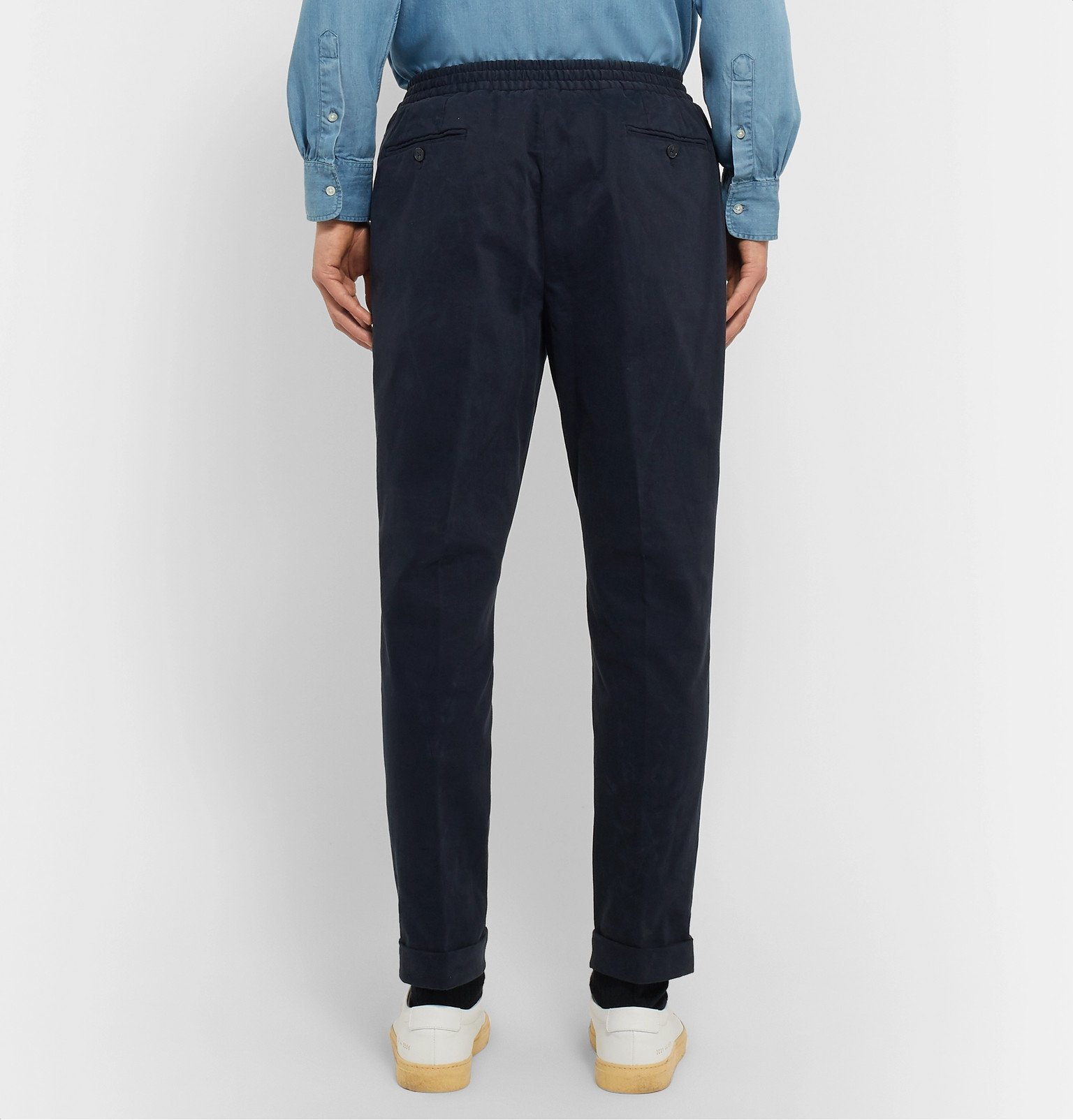 Officine Generale - Phil Slim-Fit Garment-Dyed Cotton-Blend Drawstring Trousers - Blue