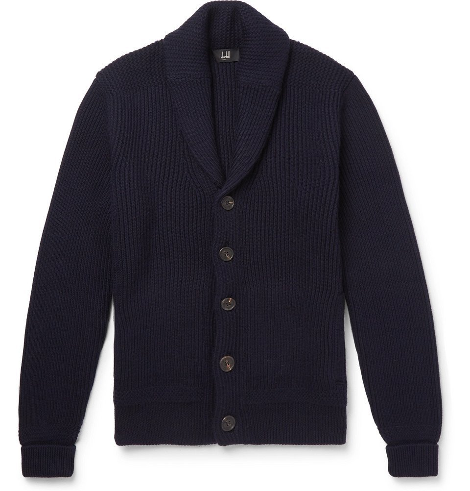 Photo: Dunhill - Shawl-Collar Ribbed Merino Wool Cardigan - Navy