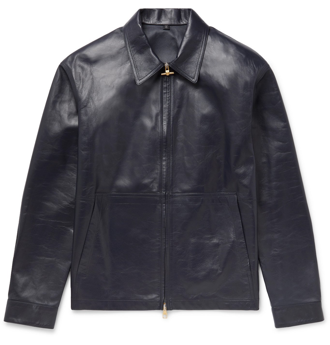 DUNHILL - Leather Jacket - Blue