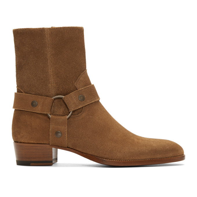 Photo: Saint Laurent Brown Suede Wyatt Boots