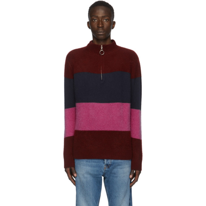 Photo: The Elder Statesman Burgundy and Multicolor Three Block Half-Zip Sweater