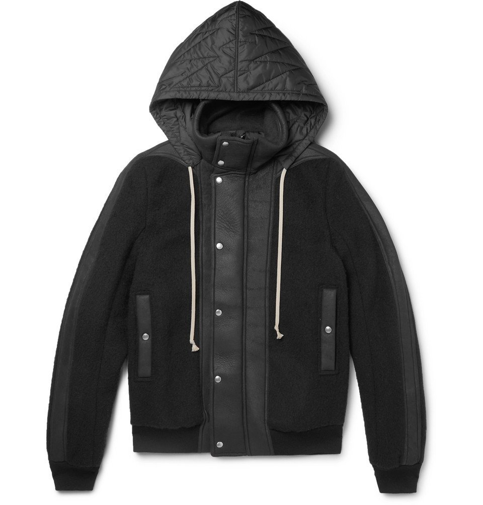 Photo: Rick Owens - Shell and Leather-Panelled Wool-Fleece Hooded Jacket - Black