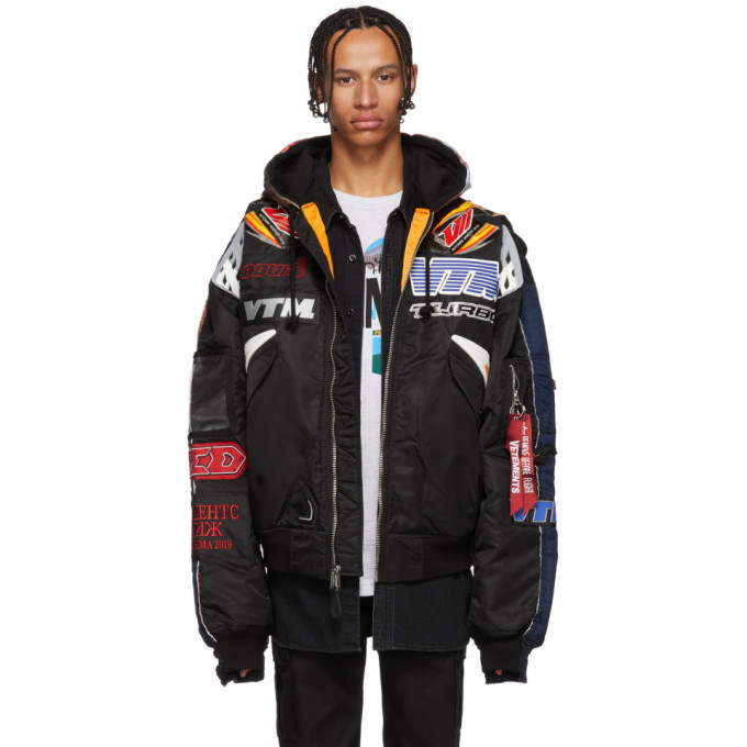 Photo: Vetements Black and Navy Alpha Industries Edition Racing Bomber Jacket