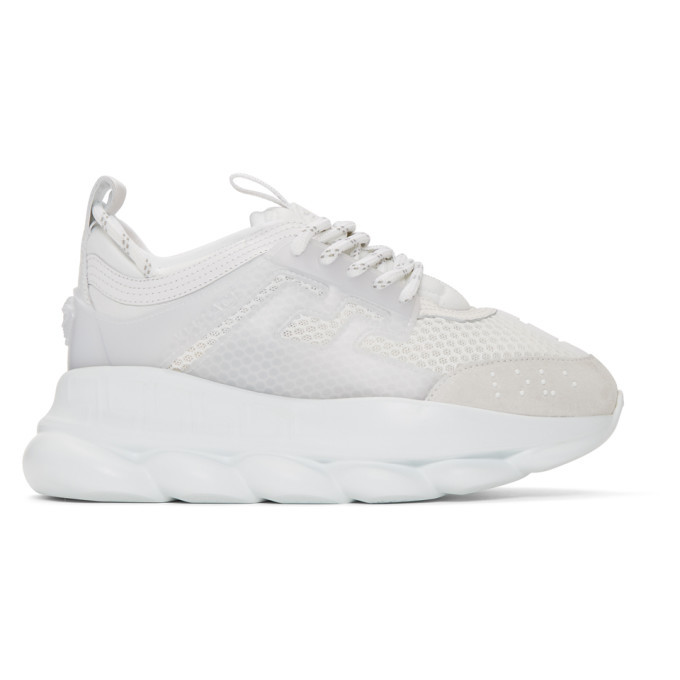 Versace White Chain Reaction Sneakers