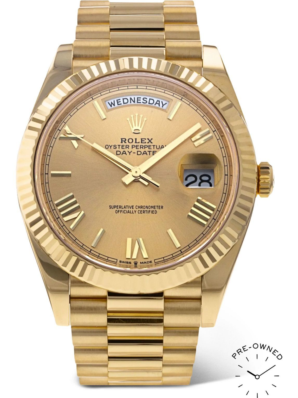 Photo: ROLEX - Pre-Owned 2021 Day-Date Automatic 40mm 18-Karat Gold Watch, Ref. No. 228238
