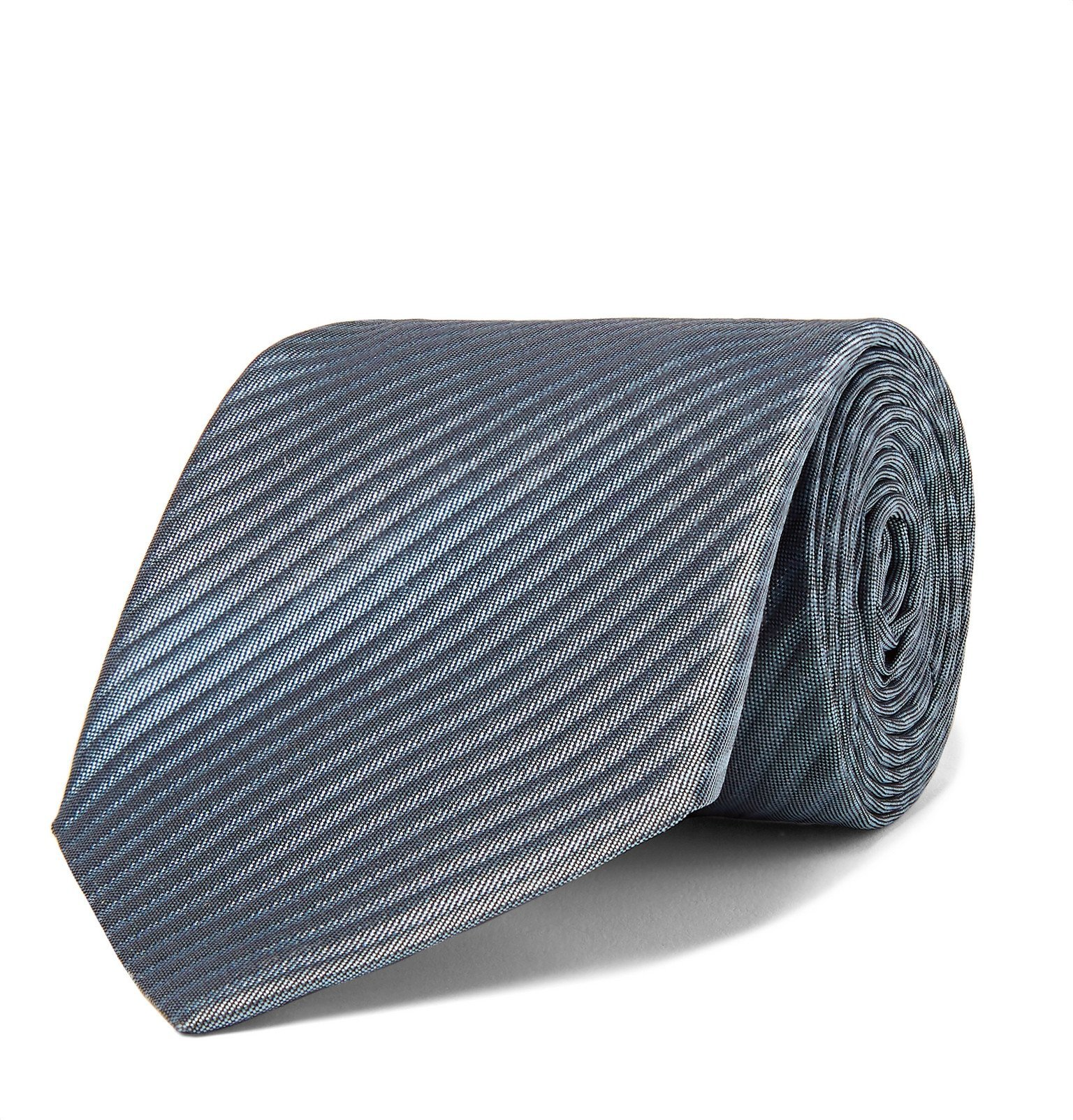Giorgio Armani - 8cm Striped Silk-Jacquard Tie - Blue