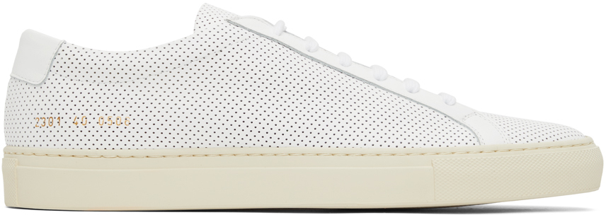 Photo: Common Projects White Perforated Achilles Low Sneakers