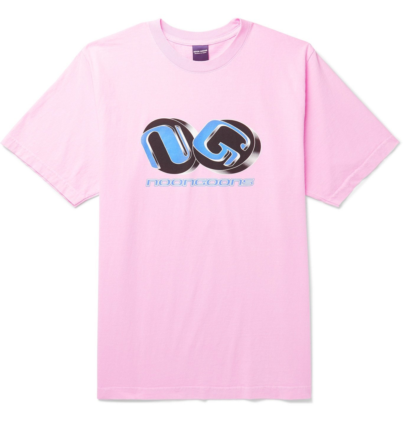 Photo: Noon Goons - Printed Garment-Dyed Cotton-Jersey T-Shirt - Pink