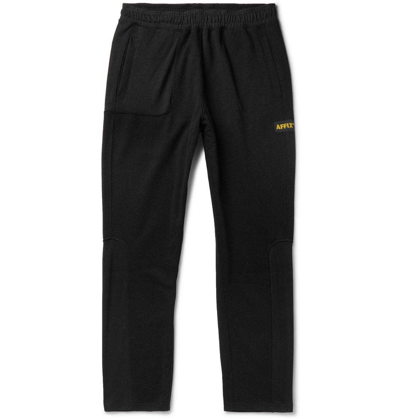 Photo: AFFIX - Tapered Logo-Appliquéd Fleece-Back Tech-Jersey Sweatpants - Black