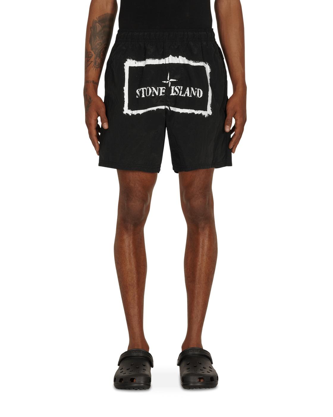 Stone Island Nylon Metal Stencil Print Swim Shorts Black