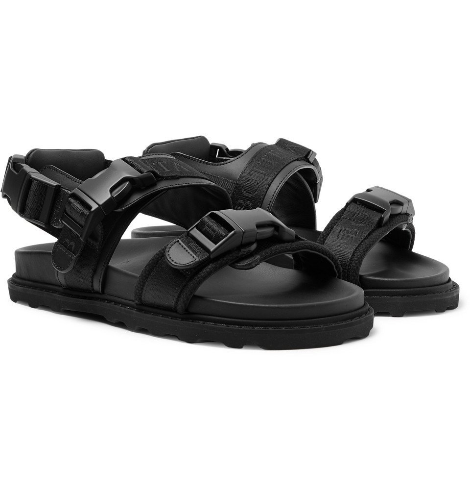 Photo: Bottega Veneta - Webbing-Trimmed Leather and Wool Sandals - Black
