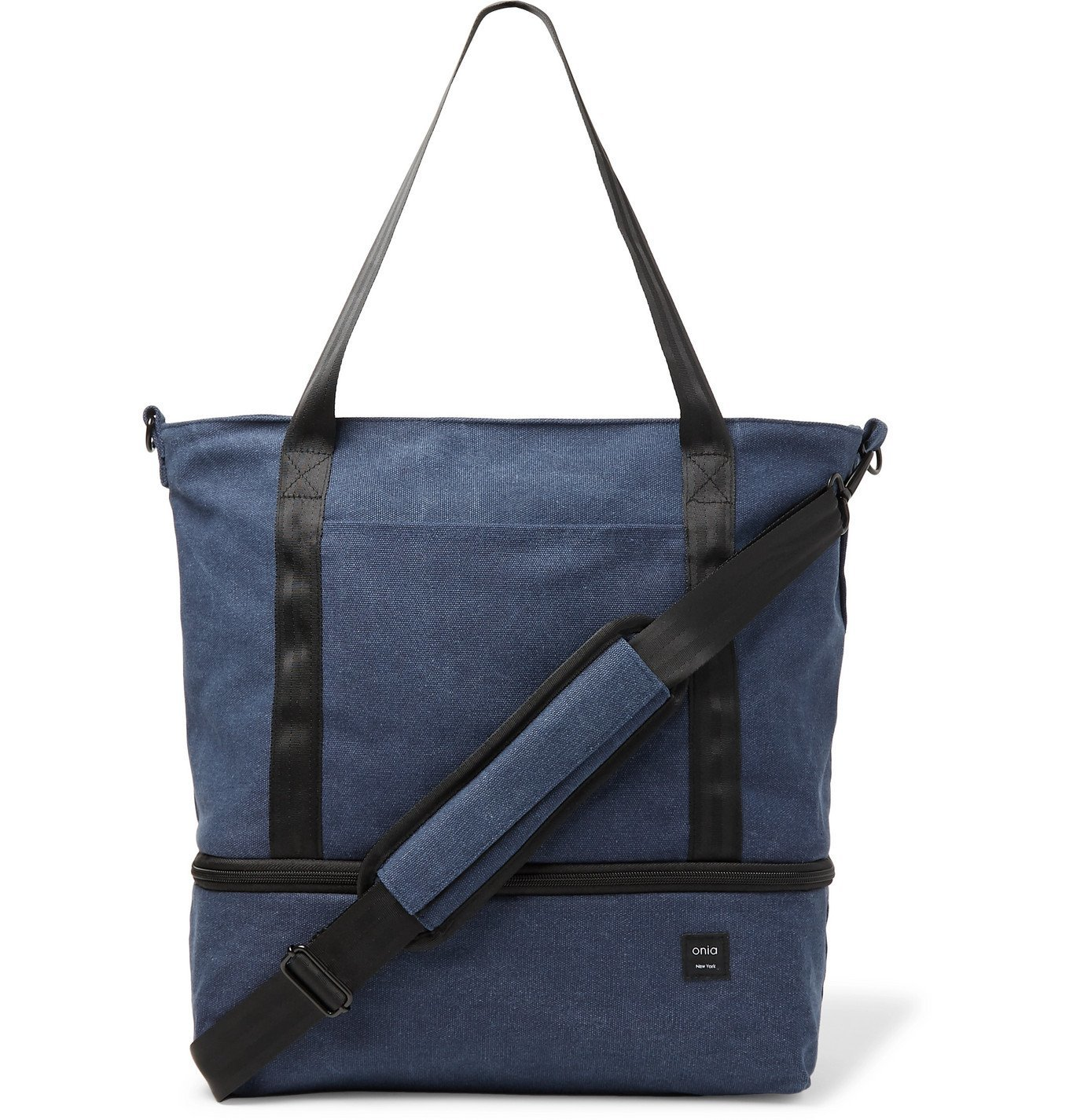 Photo: Onia - Mini Weekender Cotton-Canvas Tote Bag - Blue