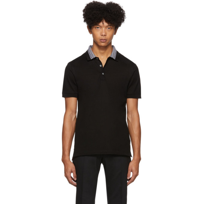 Photo: Salvatore Ferragamo Black Collar Print Polo