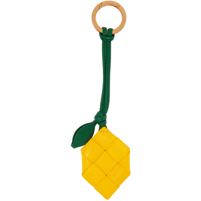 Photo: Bottega Veneta Yellow Intrecciato Lemon Keychain