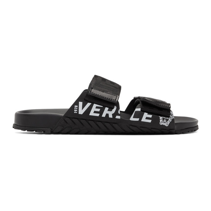 Photo: Versace Black Greek Key Sandals