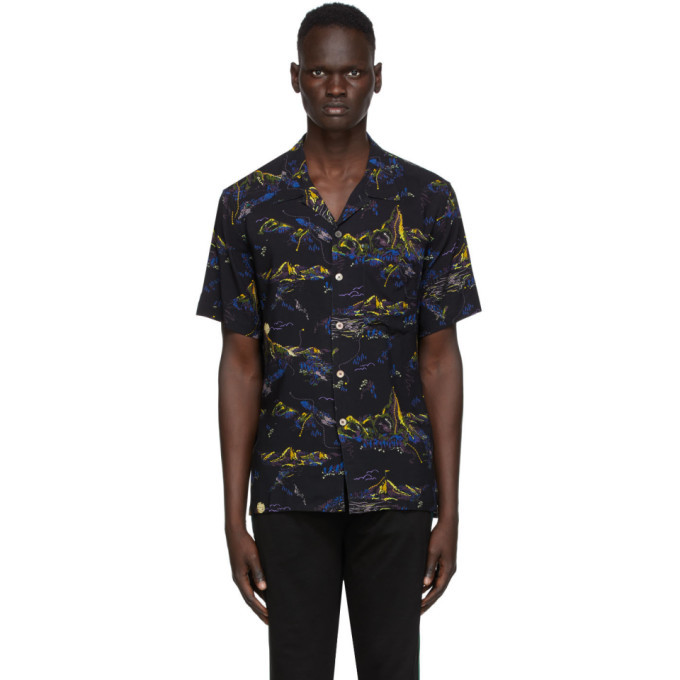 Photo: PS by Paul Smith Black Floral Camp Short Sleeve Shirt