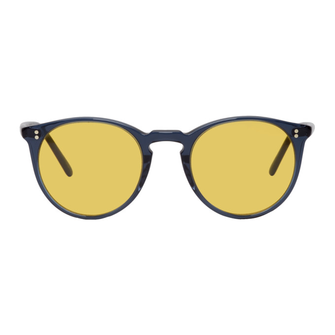 Oliver Peoples Navy and Yellow OMalley Sunglasses