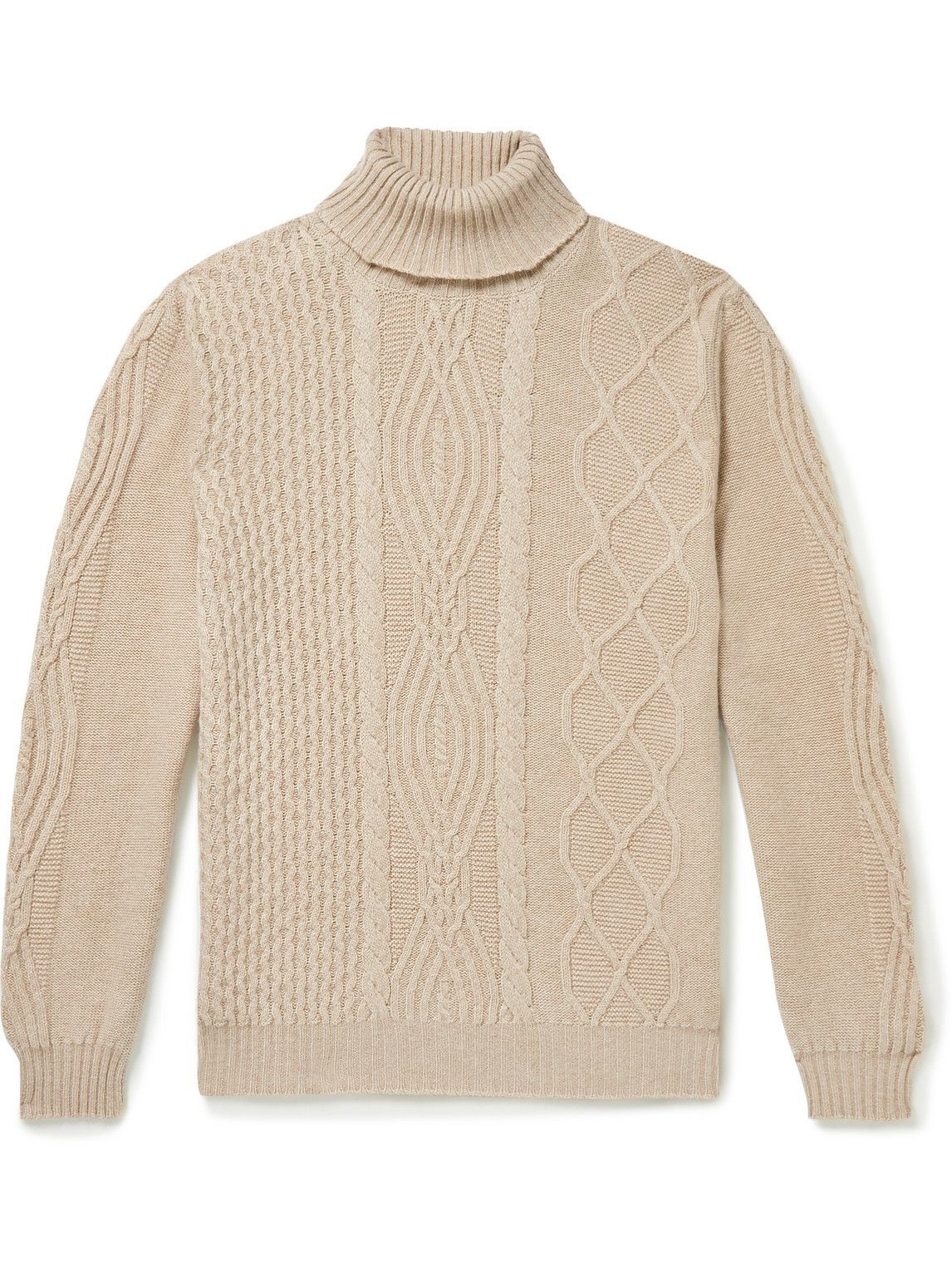 Photo: Kiton - Cable-Knit Cashmere Rollneck Sweater - Neutrals