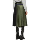 Sacai Khaki and Navy Wool Pleated Skirt