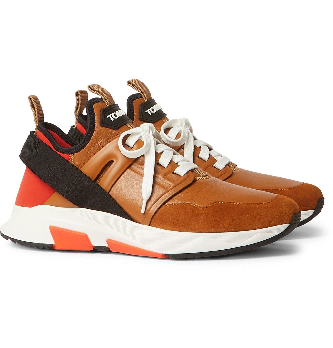 Photo: TOM FORD - Jago Neoprene, Suede and Leather Sneakers - Brown