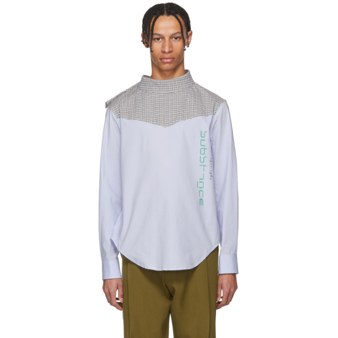 Photo: Raf Simons Blue Joy Division Substance Side Closure Shirt