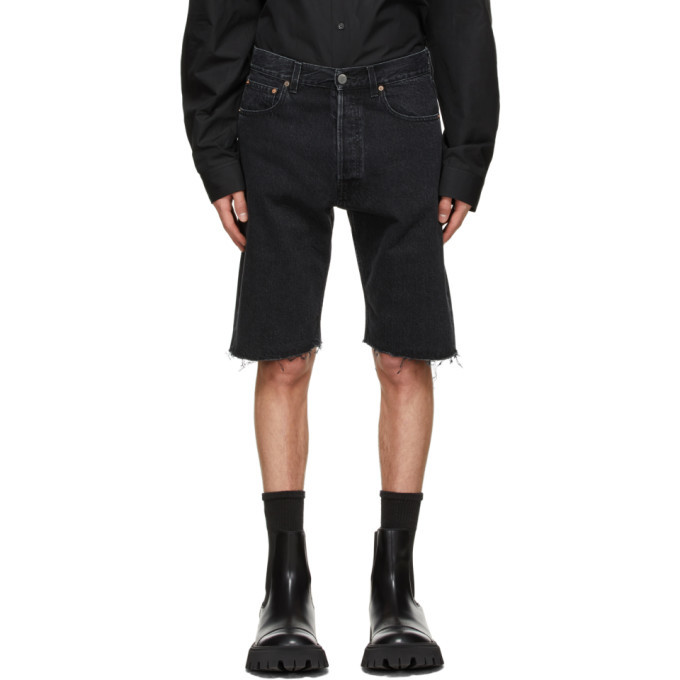 Photo: VETEMENTS Black Denim Haute Couture Shorts