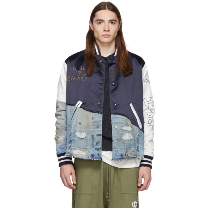 Photo: Greg Lauren Navy 50/50 Satin Denim Varsity Jacket