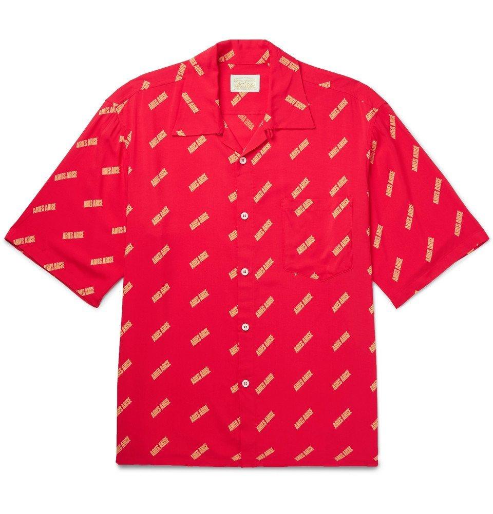 Aries - Camp-Collar Logo-Print Voile Shirt - Red