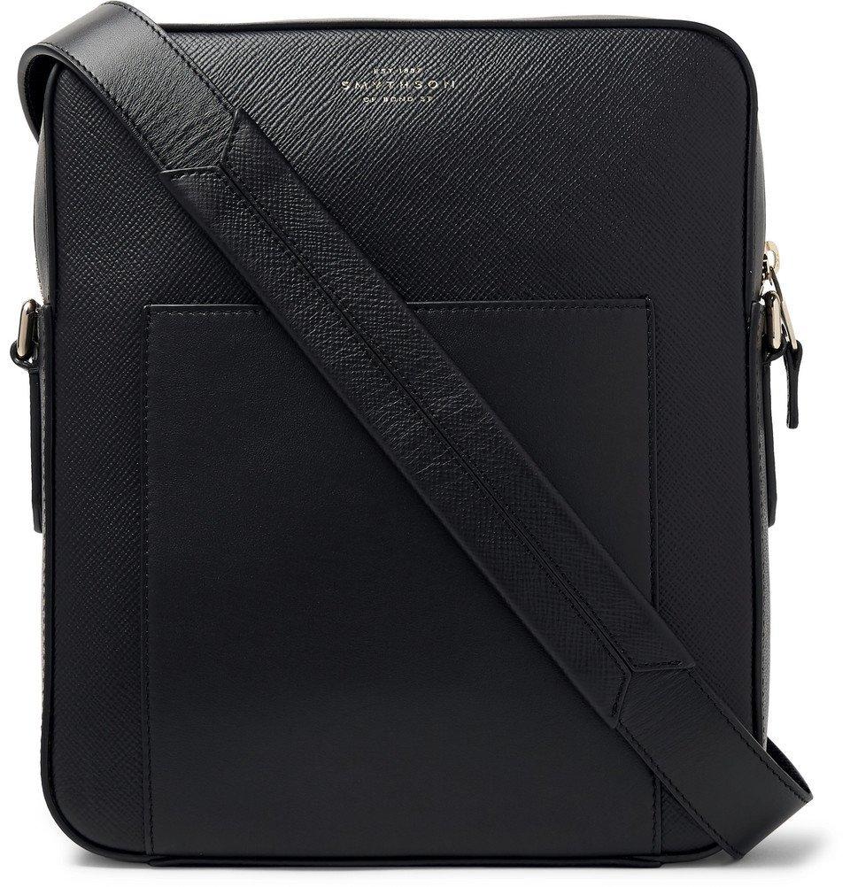 Smythson - Panama Cross-Grain Leather Messenger Bag - Black