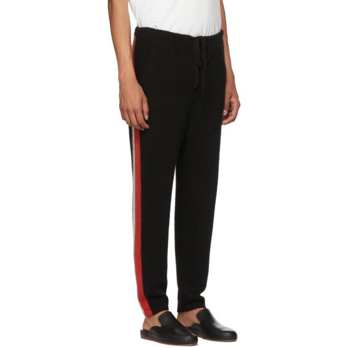 The Elder Statesman SSENSE Exclusive Black Striped Cashmere Lounge Pants