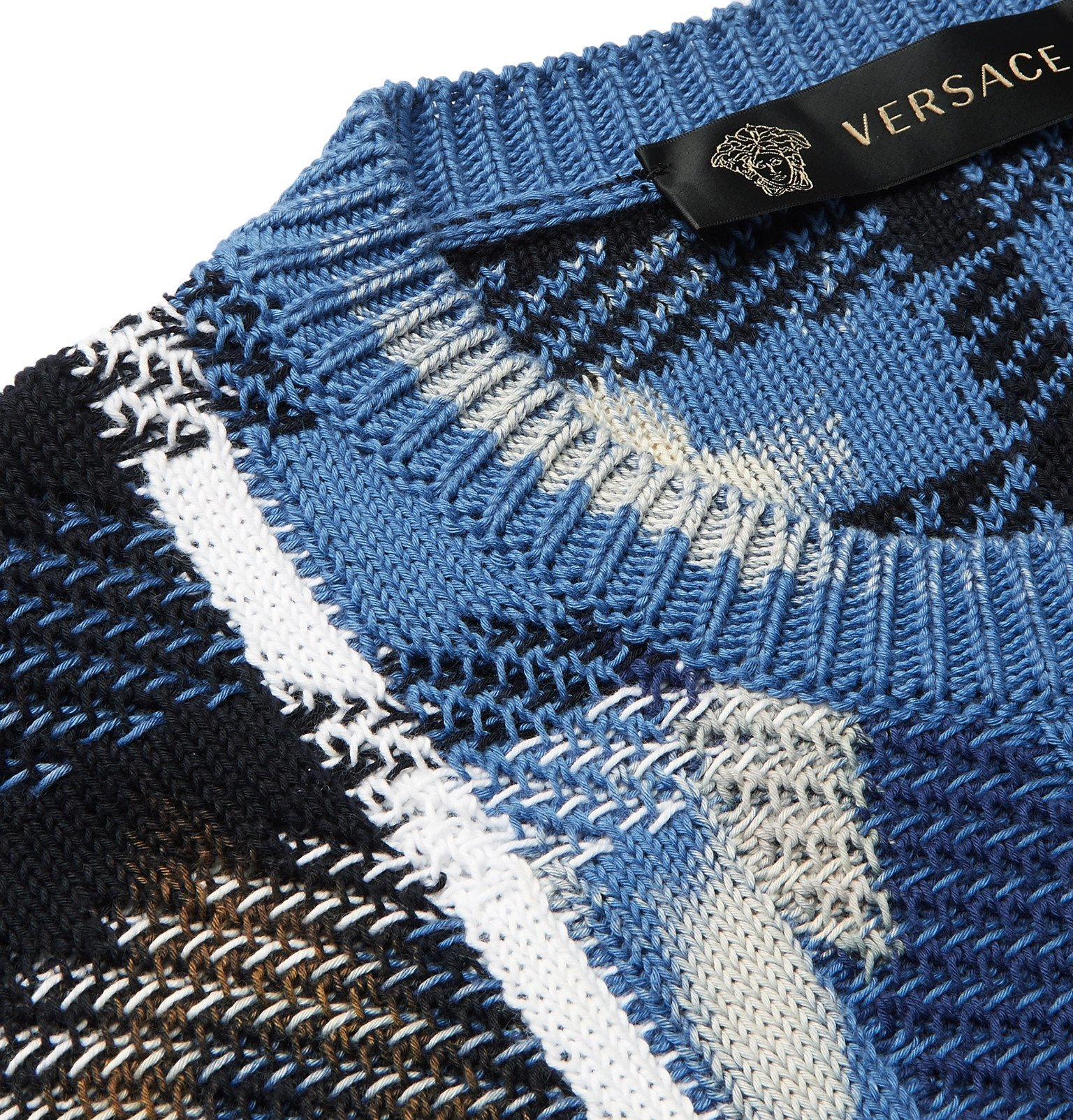 Versace - Distressed Checked Cotton Sweater - Blue
