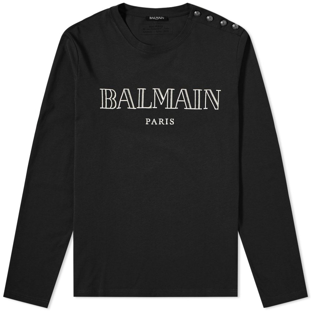 Photo: Balmain Long Sleeve Paris Logo Button Tee