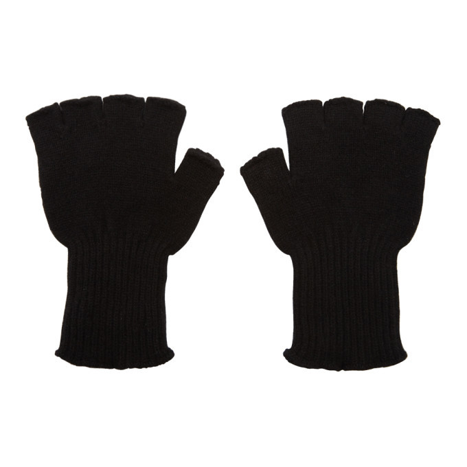 Photo: The Elder Statesman Black Cashmere Heavy Fingerless Gloves
