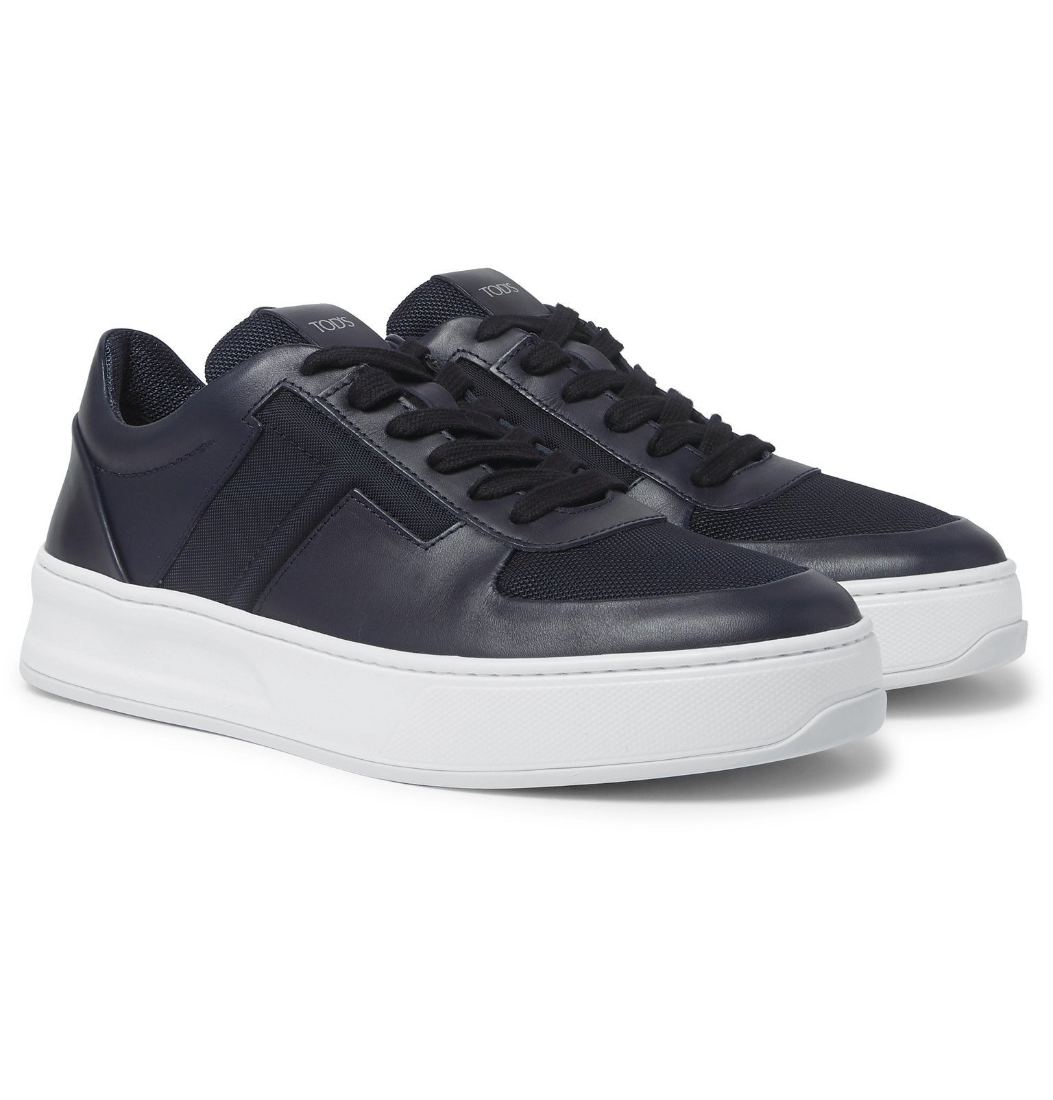 Photo: Tod's - Cassetta Leather and Mesh Sneakers - Blue
