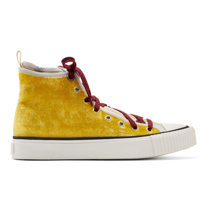 Photo: Lanvin Yellow Velvet and Canvas Sneakers