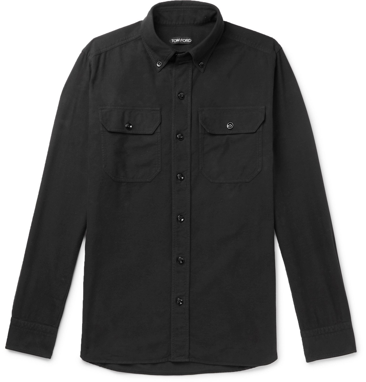 Photo: TOM FORD - Slim-Fit Button-Down Collar Brushed-Cotton Shirt - Black