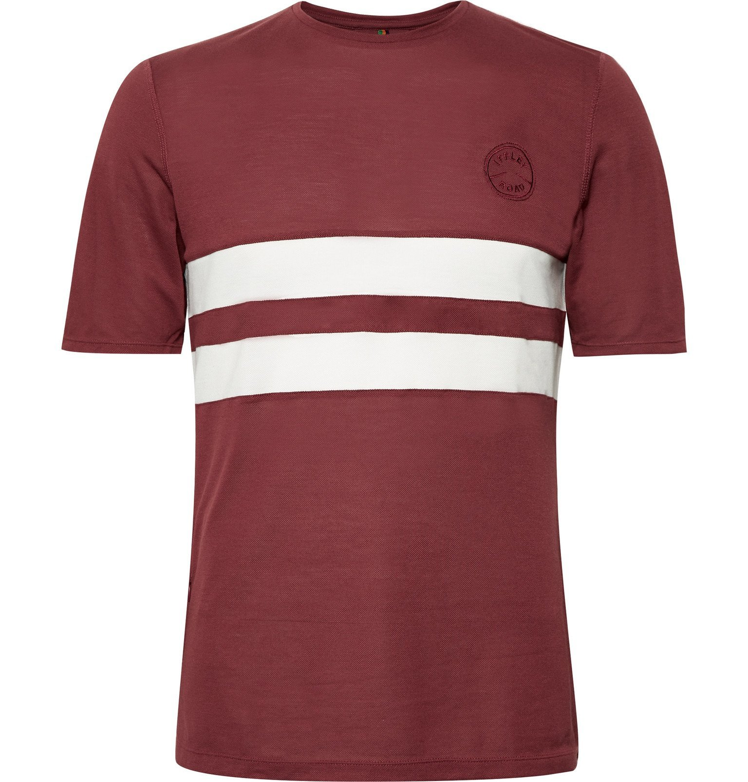 Photo: Iffley Road - Cambrian Striped Drirelease Piqué T-Shirt - Burgundy