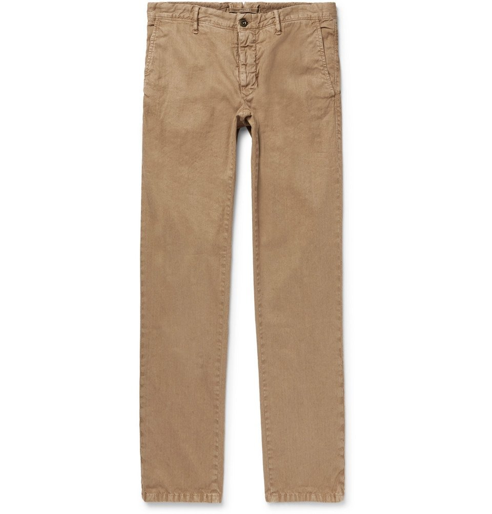 Photo: Incotex - Slim-Fit Herringbone Stretch Linen and Cotton-Blend Trousers - Tan