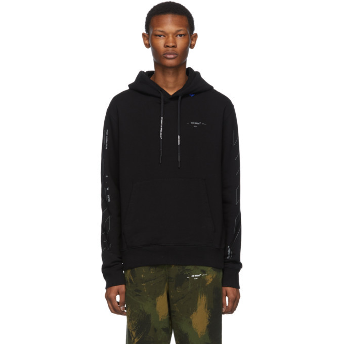 Photo: Off-White Black and Silver Diag Unfinished Slim Hoodie
